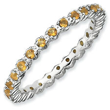 Citrine Eternity Ring .925 Sterling Silver Size 5-10 Stackable Expressions