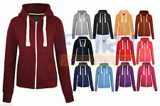 WOMEN PLAIN ZIPPED HOODIE LADIES HOODED ZIP TOP SWEATSHIRT JACKET SWEATER CASUAL