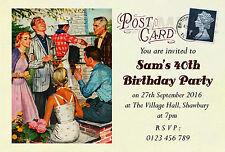 Personalised Vintage Birthday Party Invites Garden Party BBQ 40th 50th 60th T263