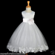 WHITE COMMUNION PAGEANT EASTER WEDDING PETAL FLOWER GIRL DRESS 12-18M 2 4 6 8 10