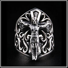 Silver Divine Sacred Heart Jesus Christ Crucifix Cross Ring Size 8, 9, 10, 11, 1