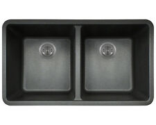 MR Direct 802 Black TruGranite Double Equal Bowl Kitchen Sink