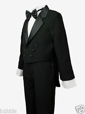 Boys Kids Children Formal Tuxedo Tail Black Infant Toddler  S-XL  2T-4T  5-20