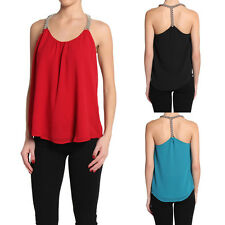 TheMogan Embellished Strap Draped Chiffon Tank Top
