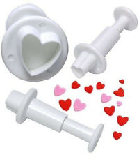 New 3Pcs Heart Plunger Cutters Fondant Cake Decorating Tool Cookie Sugarcraft #T