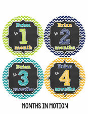 Personalized Baby Boy Monthly Stickers Custom Baby Name Boys Month Sticker #496