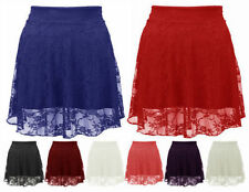NEW LADIES BLACK CORAL CREAM RED BLUE FLORAL LACE MINI SKATER SKIRT SIZE 8-14