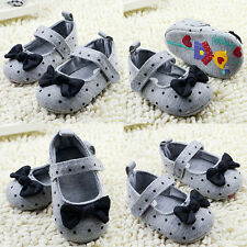 Toddler Girl Polka Dot Bowknot Crib Shoes Soft Sole Comfort Baby Shoes Prewalker