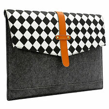 "Felt & Real Leather with Black White Grid Sleeve Case Bag for 11 13"" 15"" Macbook"