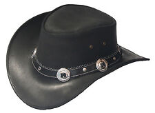 Black Leather Western Cowboy Hat with Conchos & Rivets Hat Band