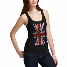 Women Shattered Distressed Union Jack Distort UK Flag Tank Top
