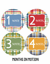 Baby Boy Monthly Milestone Birthday Stickers 12 Month Sticker Photo Prop #156