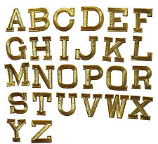 """Letter---1-3/4"""" Golden/Gold Metallic Letters Embroidery Iron On Applique Patch"""