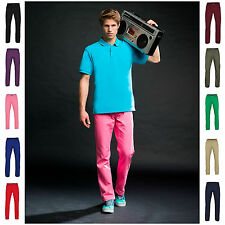 Mens Chino Jeans Pants Trousers Straight Leg Regular Fit Cotton 11 Colours