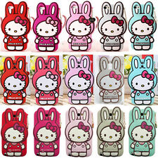 Lovely Hello Kitty+Rabbit Card Rubber Silicone Back Cover Case For Mobile phones