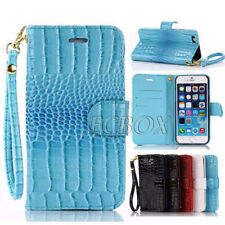 New Glossy Crocodile Skin Leather Flip Wallet Stand Case + Hand Strap For iPhone