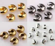 Silver/Golden End Crimp Beads 3mm/4mm/5mm 200Pcs Knot Covers Findings