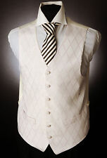 W - 562. MENS IVORY WITH PALE PINK DIAMOND WAISTCOAT WEDDING/DRESS/SUIT