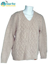 BARBOUR Mens STARK V Neck Sweater Jumper Lambswool Wool Light Stone AUTHENTIC