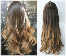 Clip in Dip dye Ombre Hair Extensions Synthetic Straight Curly Wavy