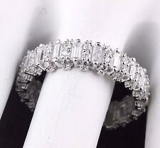 Womens 925 Sterling Silver CZ Baguette Wedding Band Engagement Ring 6mm Wide