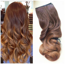 Clip in Dip dye Ombre Hair Extensions Synthetic Straight Curly Wavy brown blonde