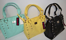 BETSEY JOHNSON BETSEYVILLE Faux Leather Studded Satchel Tote Bag NWT **PICK**