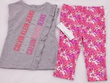 NWT'S Calvin Klein Baby Girls Size 12 or 18 Months 2 Pc Leggings Set