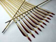 12PCS Hunting Wood Arrows Turkeys Feather For Longbow Recurve bow 11/32  Archery