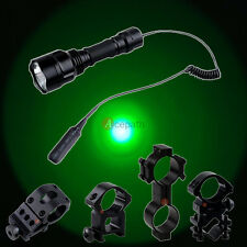Tactical C8 Cree Green LED Hunting Flashlight Light with Pressure Switch Mount