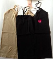 Ladies 2 pack Fitted Cami Vests 1 black + 1 Cream. Sizes 8-10, 12-14, 16-18