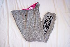 VICTORIA'S SECRET PINK FRENCH TERRY SKINNY PANT GRAY BLACK HEATHER L