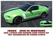 K664 2013-14 MUSTANG - CENTER HOOD DECAL and 302 SIDE L-STRIPES - 302 NUMERAL
