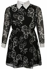 New Womens Plus Size Long Sleeve Peter Pan Collar Rose Print Swing Dress 14-28
