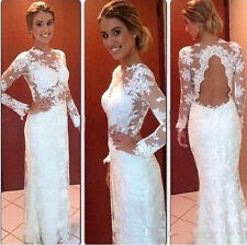 Sexy Long Sleeve Lace Mermaid Formal Wedding Prom Party Evening Gown Long Dress