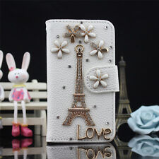 Bling Crystal Diamond Lucky Tower Flip Pu Leather Case Cover Skin For iPhone