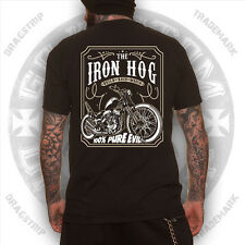 Dragstrip Clothing Iron Hog hotrod Lucky 13 tattoo rockabilly biker  t`shirt