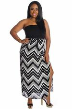 121AVENUE Gorgeous Printed Maxi Dress 1X 2X 3X Women Plus Size Black Cocktail