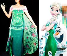 J979 women FROZEN FEVER ELSA green spring cosplay dress with 1.3 meter cape