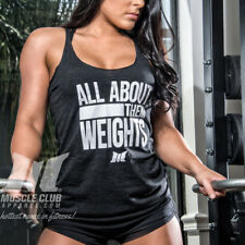 Muscle Club ALL ABOUT THEM WEIGHTS Gym, Workout, Lifting Racerback Top: Black