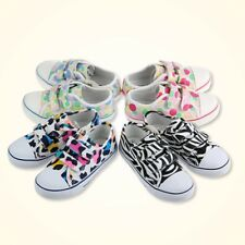 Kids Youth Girl's Jungle Printed Canvas Flat Velcro Strap Sneaker