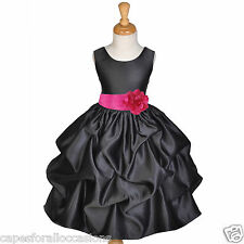 BLACK WEDDING BRIDESMAID INFANT TODDLER PAGEANT DANCING FLOWER GIRL DRESS CHOICE