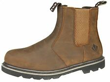ET Safety Brown Leather Welted Steel Toecap and Midsole SBP Dealer Chelsea Boots