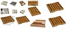 WOODEN BAMBOO CUTLERY TRAY DRAWER STORAGE BOX UTENSILS KITCHEN ORGANISER HOLDER