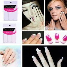 2 style Manicure Nail Art Form Fringe Guides Sticker French DIY Stencil 10/SET