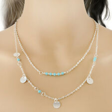 New Hot Double Chain Design Lovely Blue Beads Shiny Sequins Charm Necklace