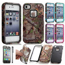 Rugged Hybrid Camo Tree Dual Layer Combo Rubber Matte Case Cover For iPhone 4 4S