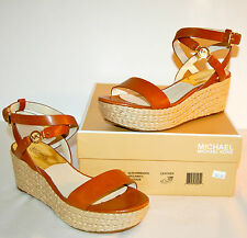 New $145 Michael Kors Jalita Charm Sandal Wedge Platform Espadrille Brown