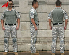 Tactical Military Airsoft Summer Combat Uniform Shirt Pants w/Knee Pads ACU Camo
