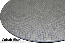 New Mosaic Blue Round Vinyl Fitted Dining Tablecloth Patio Picnic Cover US Made